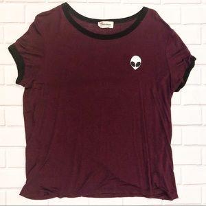 French Pastry Maroon Alien Ringer T-Shirt 👽